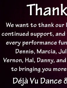 Thank You from Deja Vu Dance & Show Band